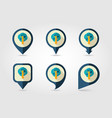 fruit tree flat mapping pin icon with long shadow vector image vector image