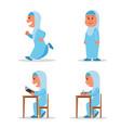 girl muslim school kid flat character vector image vector image