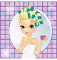 Girl With Hair Curlers vector image