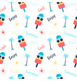 hand drawing cool ice cream pattern seamless vector image