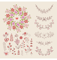 Hand Drawn vintage floral elements vector image vector image