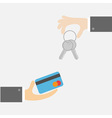 Hands with key and money card Exchanging concept vector image vector image