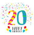 happy birthday for 20 year party invitation card vector image vector image