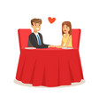 happy couple in love sitting in a cafe romantic vector image