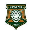 Hunting club sign with lion on heraldic shield vector image vector image