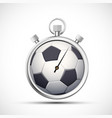 icon stopwatch with a soccer ball vector image vector image