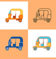 indian auto rickshaw icon set in flat and line vector image