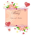 invitation card with hearts and flowers vector image