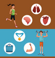 man sports jump rope training healthy vector image vector image