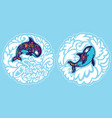 orca whales surrounded waves save ocean vector image vector image