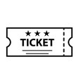 outline ticket icon on white background ticket vector image vector image
