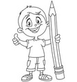 outlined boy holding big pencil vector image vector image