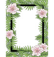 Palm leaves and flowers frame vector image