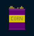 pixel icon in flat style corn in glass vector image vector image