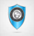 Protection blue shield with the combination lock vector image