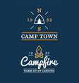 set camp logo with campfire and camp tent vector image vector image
