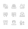 set line icons online meeting vector image