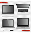 set of laptops in different positions isolated on vector image vector image