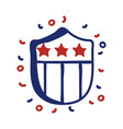 shield with usa flag line style vector image vector image