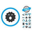Sleepy Gear Flat Icon with Bonus vector image