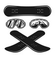 snowboarding equipment set of objects vector image vector image