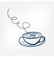 tea coffee cup one line design element isolated vector image
