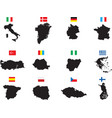 twelve countries on white vector image vector image
