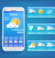 weather forecast app on smartphone screen and vector image