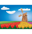 Windmill and Tulips2 vector image vector image