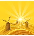 Windmills at sunset background vector image