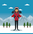 winter mountain landscape poster with scaler man vector image vector image