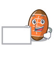 with board rugby ball character cartoon vector image
