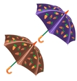 Two umbrella with carrot pattern isolated vector image