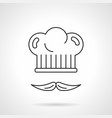 chef hat and mustache flat line icon vector image