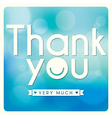 Thank You card design on blue background vector image