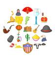 america icons set cartoon style vector image