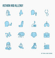 asthma and allergy thin line icons set vector image vector image