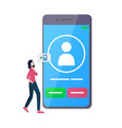 big smartphone with incoming call and woman beside vector image vector image
