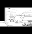 black and white coloring page sheep in the barn vector image