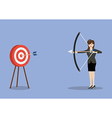 Business woman hitting the target vector image vector image