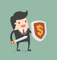 businessman carrying a money shield and sword vector image vector image