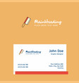 butcher knife logo design with business card vector image