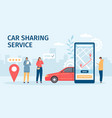 car sharing service big smartphone screen with vector image vector image
