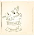 Card with tea cups and art birds vector image vector image