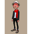cartoon is a funny guy hipster in hat and scarf vector image vector image