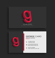clean dark business card with letter G vector image