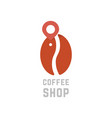 coffee shop logo like bean with map pin vector image vector image