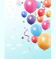 Colorful birthday balloon with confetti vector image
