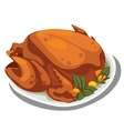 cooked delicious chicken on plate food vector image vector image
