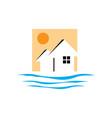 creative beach house logo design rohouse vector image